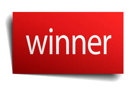 isolated paper: winner red square isolated paper sign on white