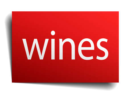 wines: wines red square isolated paper sign on white