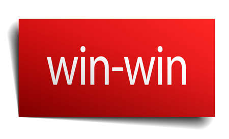 isolated paper: win-win red square isolated paper sign on white