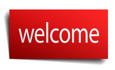 isolated paper: welcome red square isolated paper sign on white