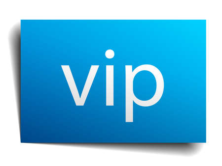 i label: vip blue paper sign isolated on white