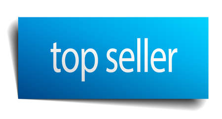 top seller: top seller blue paper sign isolated on white