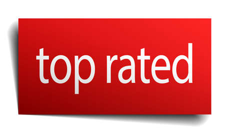 top rated: top rated red paper sign on white background Illustration