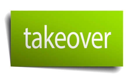 takeover: takeover square paper sign isolated on white Illustration