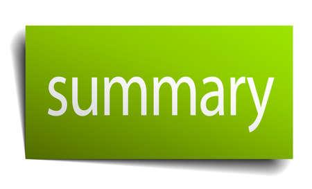 summary: summary square paper sign isolated on white Illustration