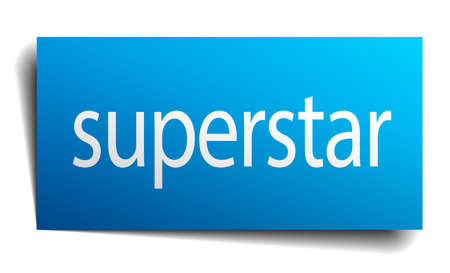 superstar: superstar blue paper sign on white background Illustration