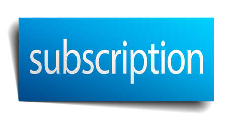 subscription: subscription blue paper sign isolated on white Illustration