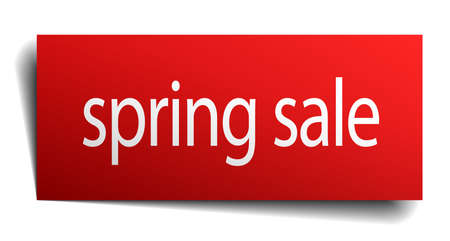 spring sale: spring sale red paper sign isolated on white
