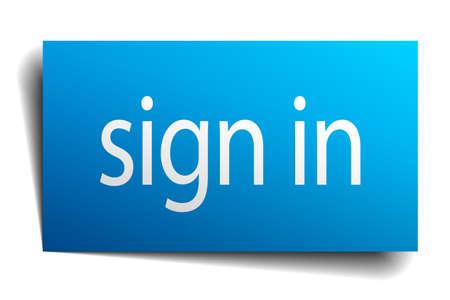 sign in: loggen Sie sich ein blaues Papier Zeichen auf wei�em Hintergrund Illustration
