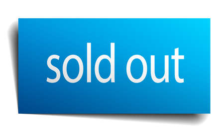 sold out: sold out blue paper sign on white background Illustration