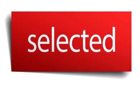 selected: selected red paper sign isolated on white Illustration