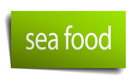 sea food: sea food square paper sign isolated on white