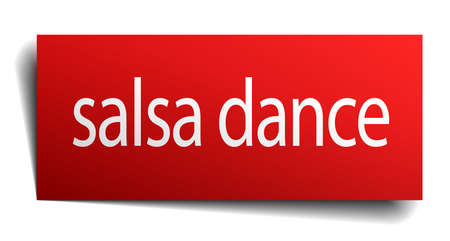 isolated paper: salsa dance red square isolated paper sign on white Illustration