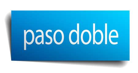 paso doble: paso doble blue paper sign on white background Illustration