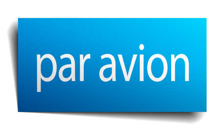 par: par avion blue paper sign on white background