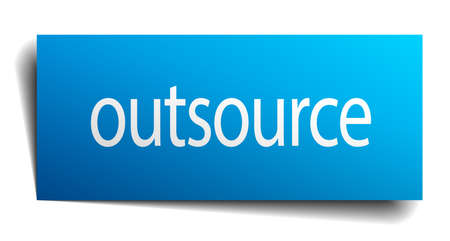 outsource: outsource blue paper sign on white background