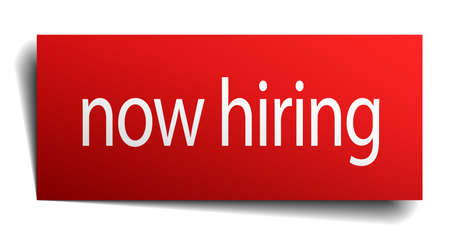 now hiring: now hiring red square isolated paper sign on white