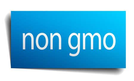 gmo: non gmo blue paper sign on white background