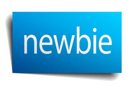 newbie: newbie blue paper sign on white background