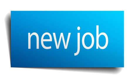 new job: new job blue paper sign on white background