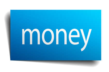 on white background: money blue paper sign on white background Illustration