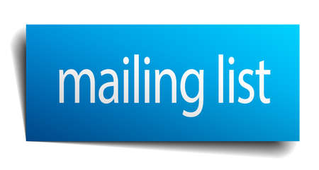 mailing: mailing list blue paper sign isolated on white Illustration