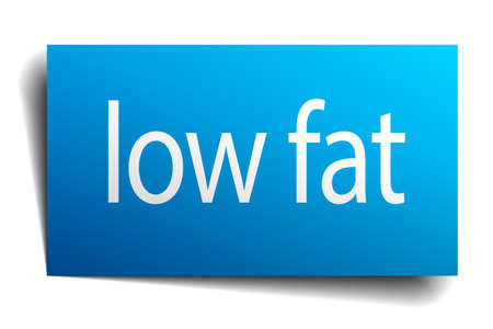 low fat: low fat blue paper sign on white background