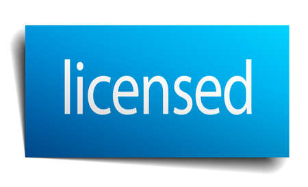 licensed: licensed blue paper sign on white background