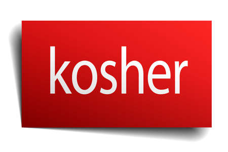 kosher: kosher red square isolated paper sign on white Vectores