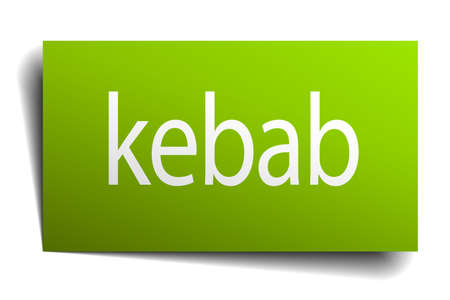 green paper: kebab green paper sign isolated on white