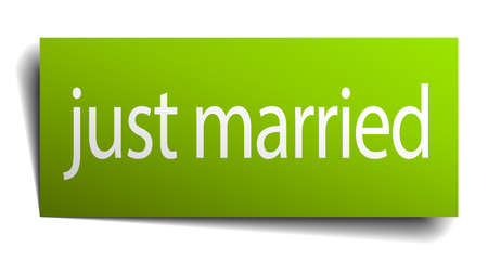 just: just married green paper sign isolated on white Illustration