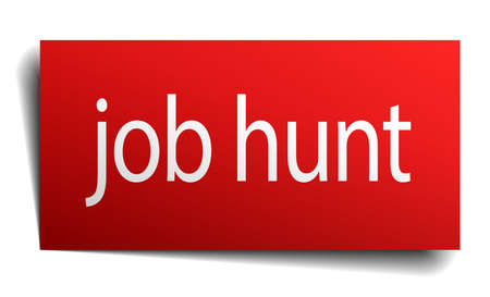 isolated paper: job hunt red square isolated paper sign on white Illustration