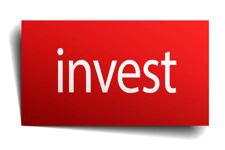 isolated paper: invest red square isolated paper sign on white
