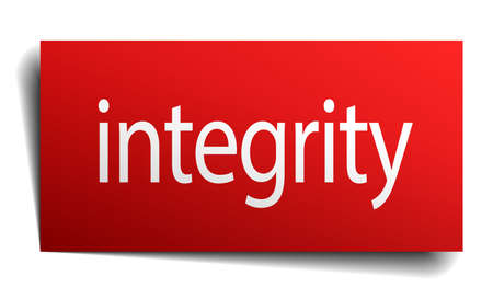 isolated paper: integrity red square isolated paper sign on white Illustration