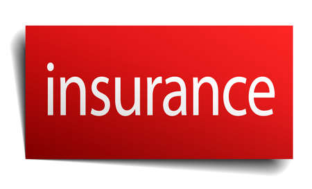 isolated paper: insurance red square isolated paper sign on white Illustration