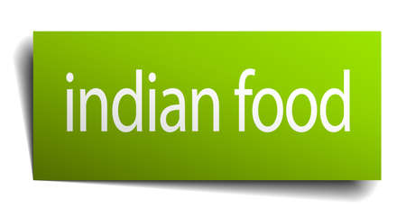 indian food: indian food green paper sign isolated on white
