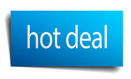 hot deal: hot deal blue paper sign on white background Illustration