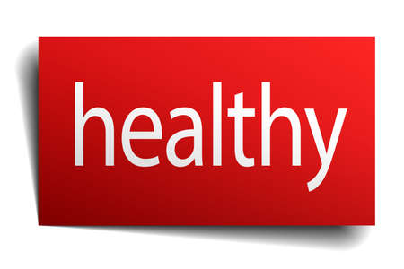 isolated paper: healthy red square isolated paper sign on white Illustration
