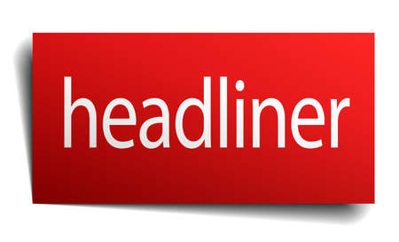 headliner: headliner red square isolated paper sign on white Illustration