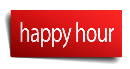 isolated paper: happy hour red square isolated paper sign on white