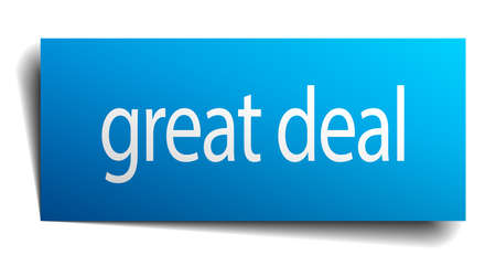 great deal: great deal blue paper sign on white background Illustration