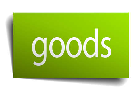 white goods: goods green paper sign isolated on white