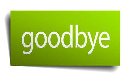 addio: addio Libro verde segno isolato su bianco Vettoriali