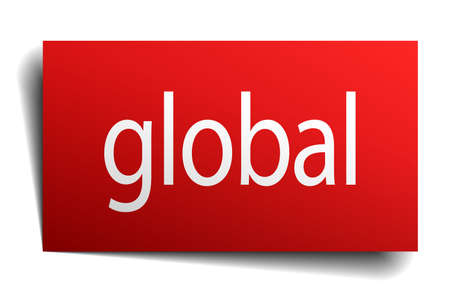isolated paper: global red square isolated paper sign on white