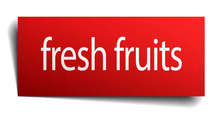 fresh fruits: fresh fruits red paper sign on white background Illustration
