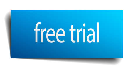 free trial: free trial blue paper sign on white background