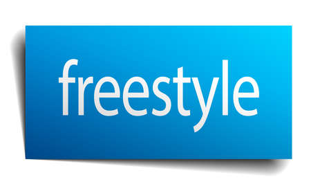 freestyle: freestyle blue paper sign on white background
