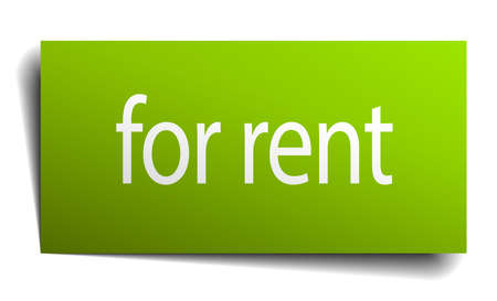 for rent: for rent green paper sign isolated on white Illustration