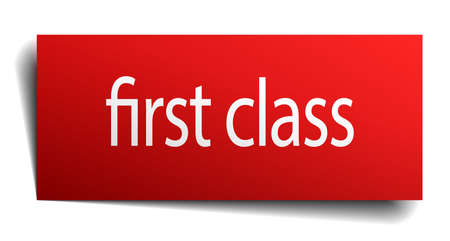 first class: first class red paper sign on white background