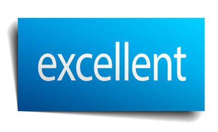 excellent: excellent blue paper sign on white background